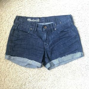MADEWELL 26 Denim Cut Off Shorts Frayed Hem Cuffed